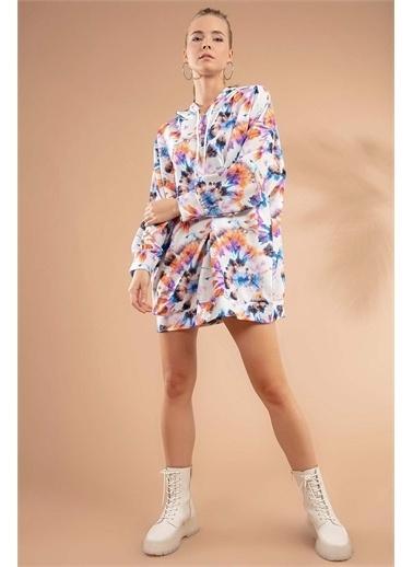 Pattaya Pattaya Kadın Batik Desenli Kapşonlu Örme Sweatshirt Elbise Y20W110-4125-13 Renkli